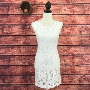 Tart Briony Sleeveless White Lace Mini Dress Small